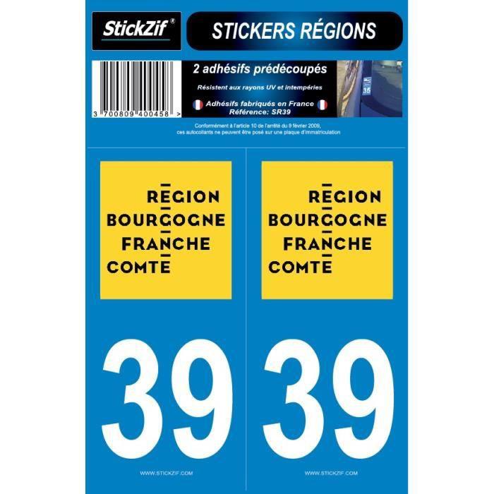 STICKZIF 2 Autocollants Région Département 39 SR39