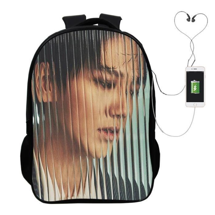SAC A DOS Kpop Yesung Super JuniorSac à dos de chargement USB Garçons Filles école Sac à dos Voyage Fashion Hommes Femmes Mode