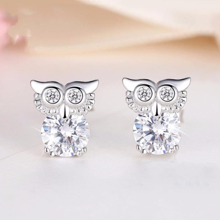 Bijoux mode 2018411 boucle doreille forme hibou tempérament féminin personnalité bijoux oreille douce (1 paire)