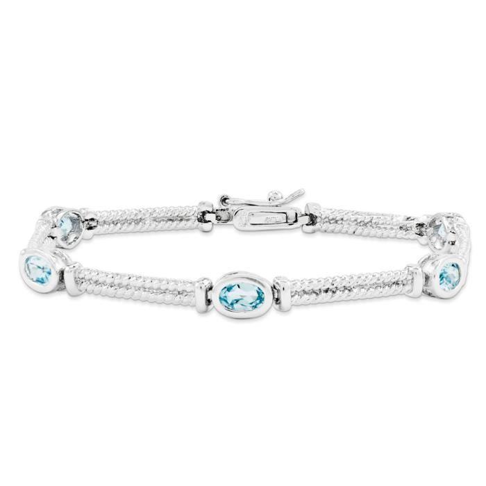 Bracelet Femme-Argent 925/1000–Topaze bleue - 7 mm-Fermoir