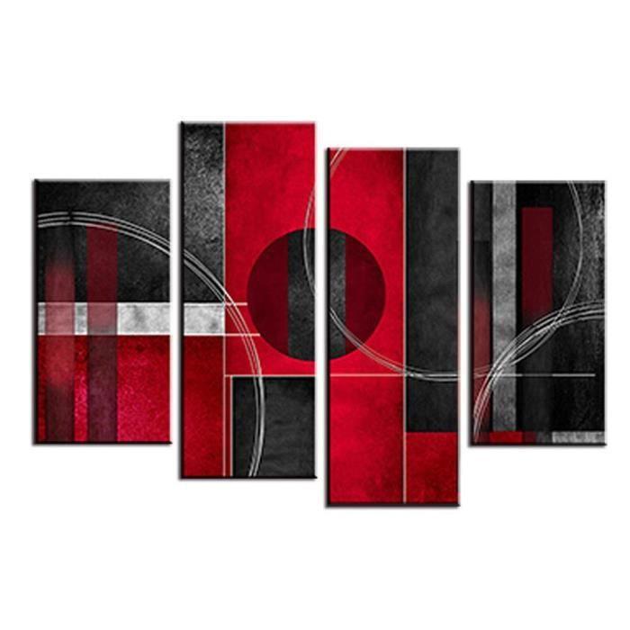 4 Pcs Peinture à l\'huile abstraite Rouge Noir avec toile de cercle  Décoration de salle à manger Image d\'art murale 120cm(Unframed)