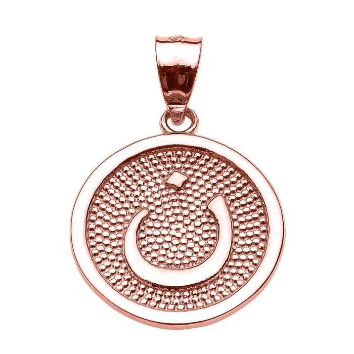 Collier Pendentif 14 ct Or Rose Arabique lettre nuun initiale Charm(Vient avec une chaîne de 45 cm) Allah islamique