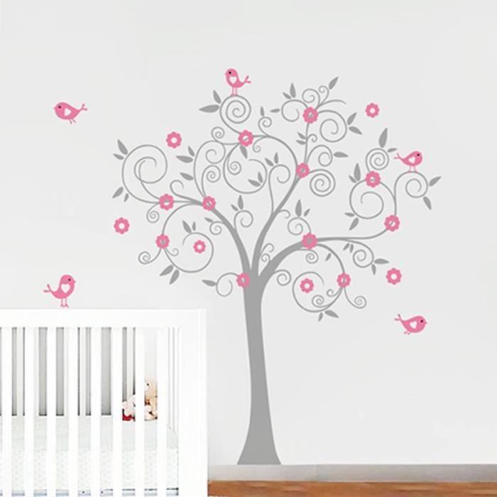 Mod le blanc rose oiseaux fleurs art vinyl arbre sticker adh sifs muraux murale p pini re jeu - Stickers arbre chambre fille ...