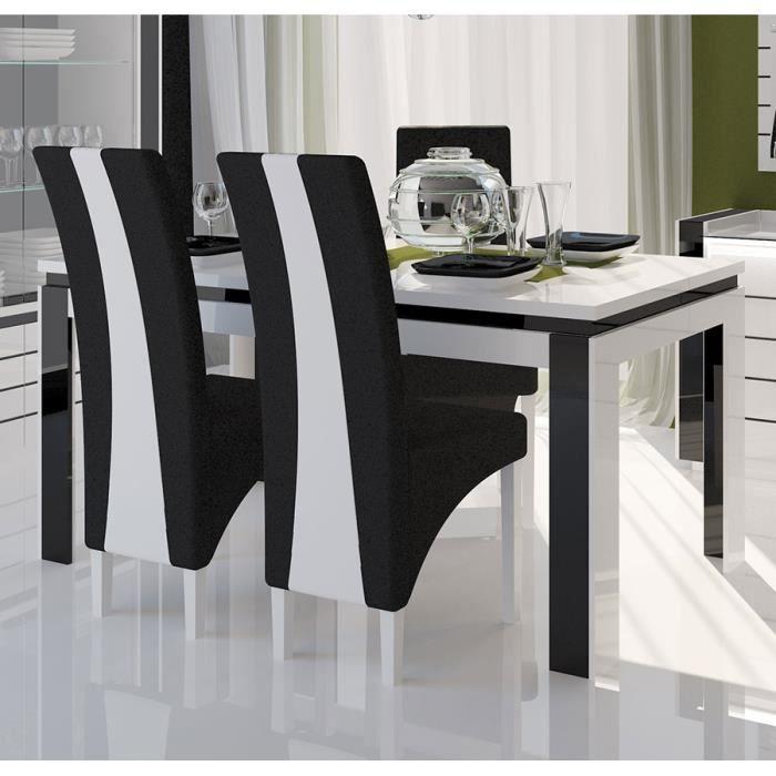 Table  Manger Blanc Et Noir Laqu Erica Table  Cm  Achat