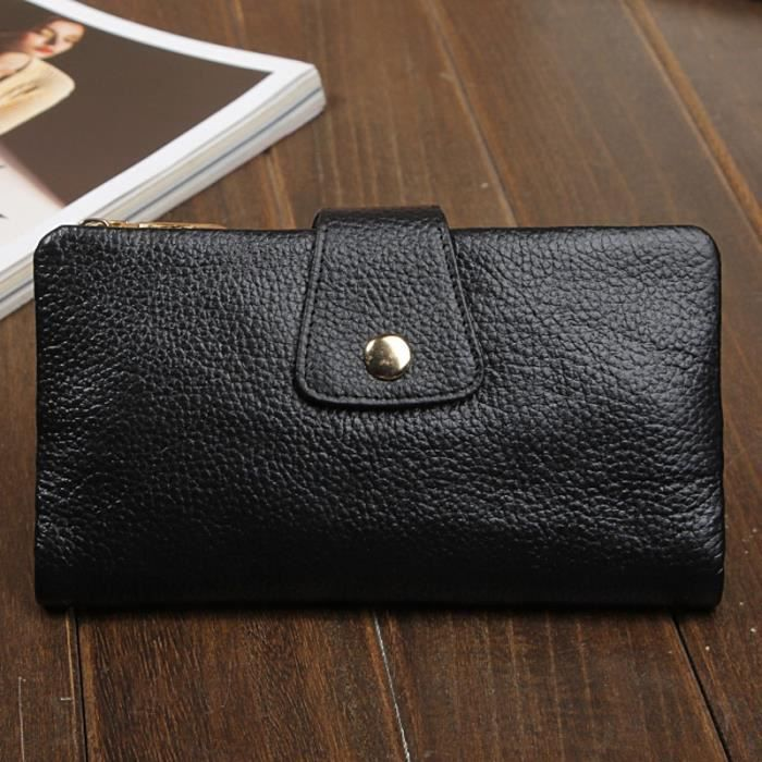 Portefeuille en cuir noir GR61Uf