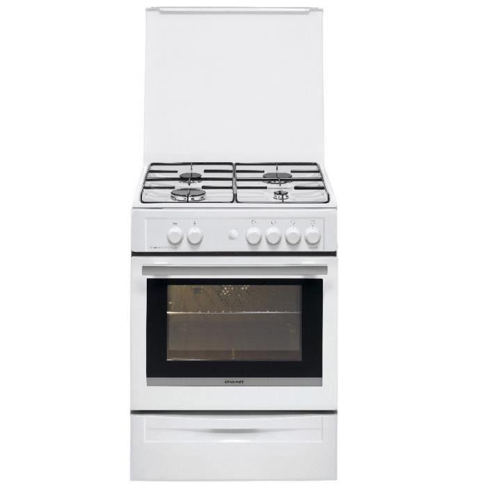 Brandt - cuisinière gaz 55l 4 feux blanc - bcg6610w - Achat ...
