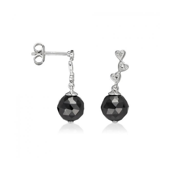 Boucles doreilles Céramique argent et Diamant Ceranity 1-48/0020-N Noir