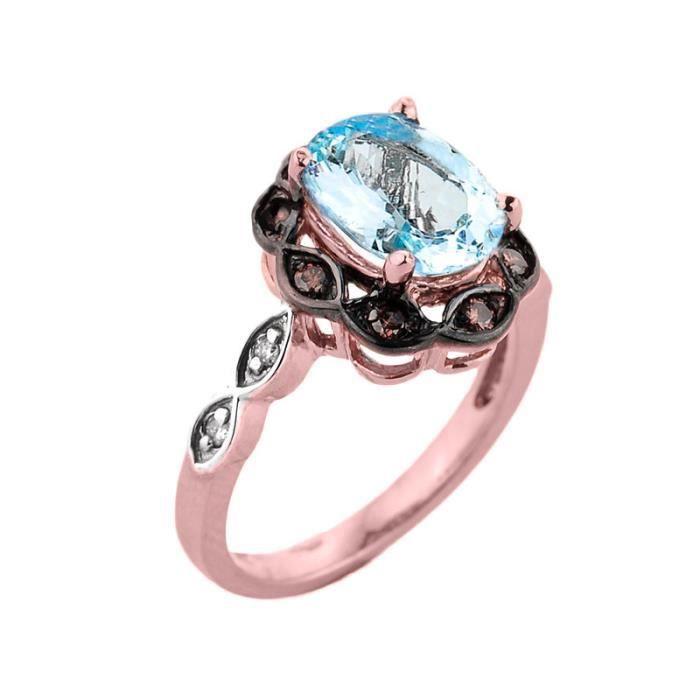 Bague Femme Alliance 10 ct Or rose 471/1000 Aquamarine etDiamant