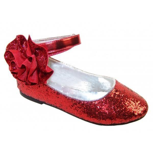 5983b0a5efeea Ballerines rouges à paillettes et Fleur pour fêtes et occasions spéciales