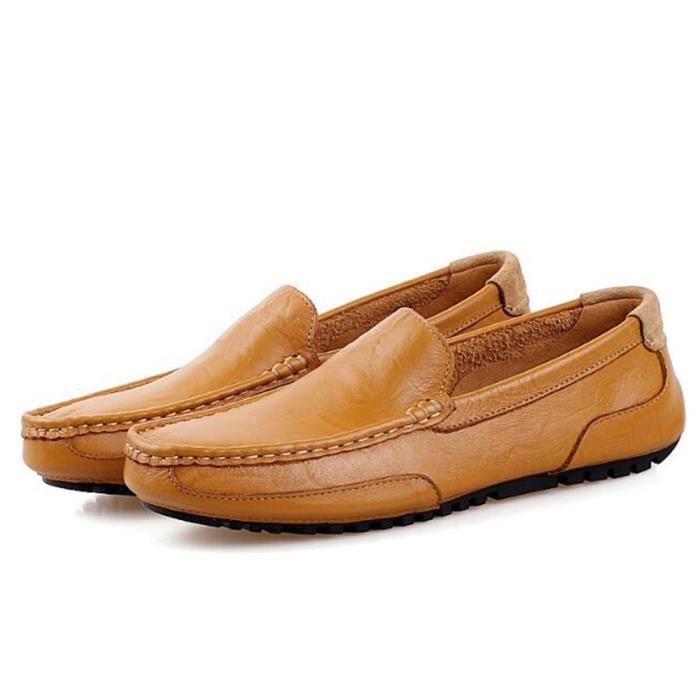 Chaussures En Cuir Véritable Hommes Casual Slip-On Mocassins Respirant Conduite Trois Couleurs Cuir Souple Chaussures Hommes