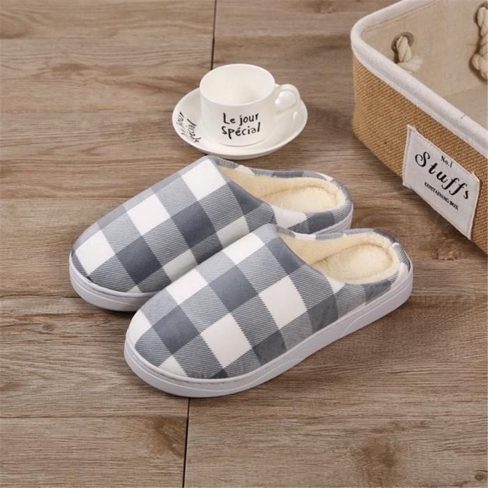 Grille Chaussons Hiver Coton Classique Elégant Chaussure Nouvelle Plus De Couleur Mode Homme Chaussons Haut qualité Rétro Beau 40-44