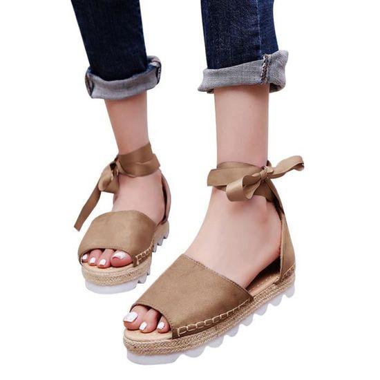 Plateforme Peep Solides Chaussures Toe Tied épais Flock à Femmes Cross Sandales Plate Kaki Fond 9WDIYH2E