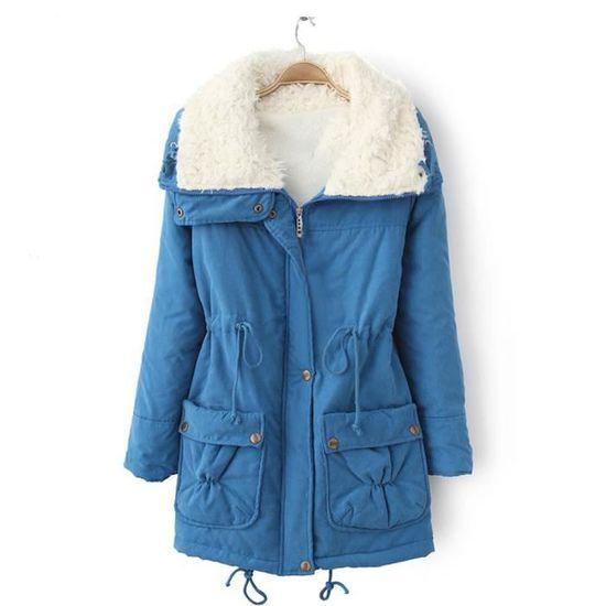 Manteau Manteaux Veste Slim Bleu Outwear Fourrure wt 3345 Femmes Xxl70922493bu Longue Décolleté Winter Parka dXnzdUF