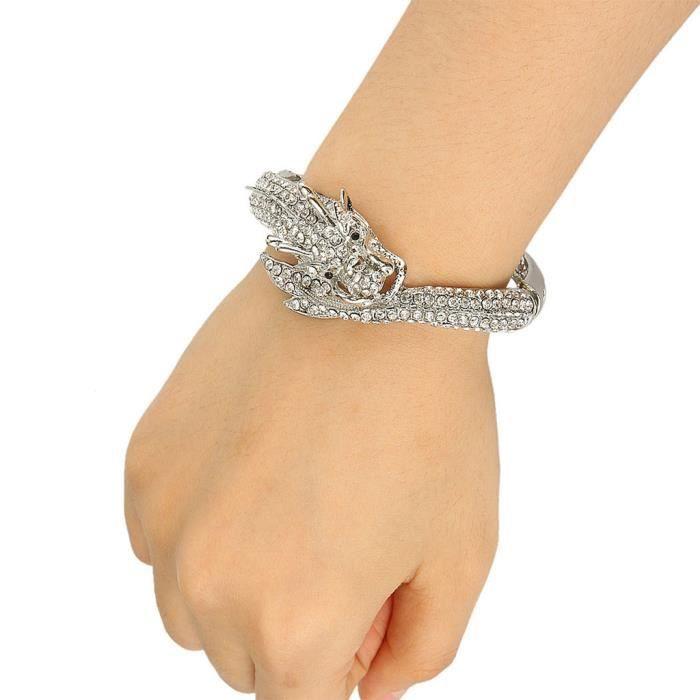 EVER FAITH® Cristal Autrichien Dragon Bracelet Manchette Spécial Transparent Plaqué Argent A07924-1