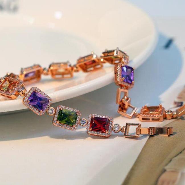 Bracelet Mode Europe et Amérique rose or cuivre zircon diamant hypoallergénique bracelet