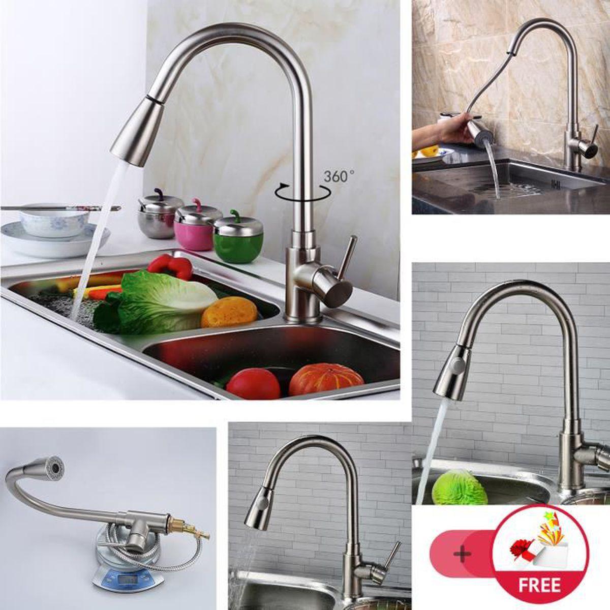 Douchette robinet cuisine design 2 jets avec set 3 couleurs