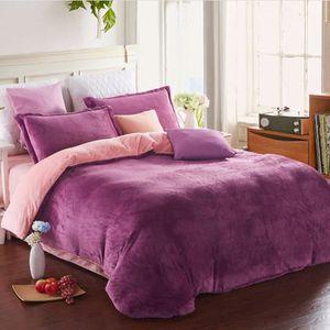 f4f1b58ba5995 flanelle 2m 4 ensembles de literie linge de lit de couette violet and rose  SIMPVALE