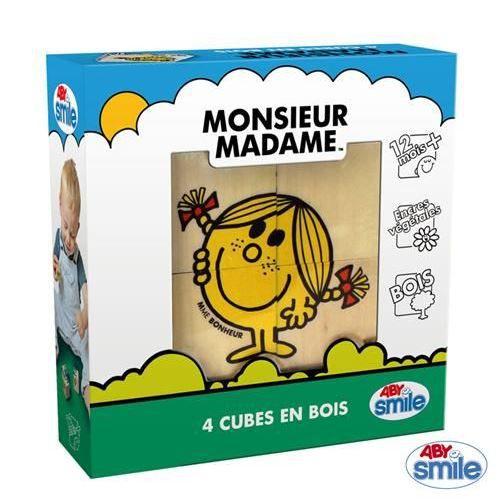 CUBE ÉVEIL 4 cubes en bois Monsieur Madame…