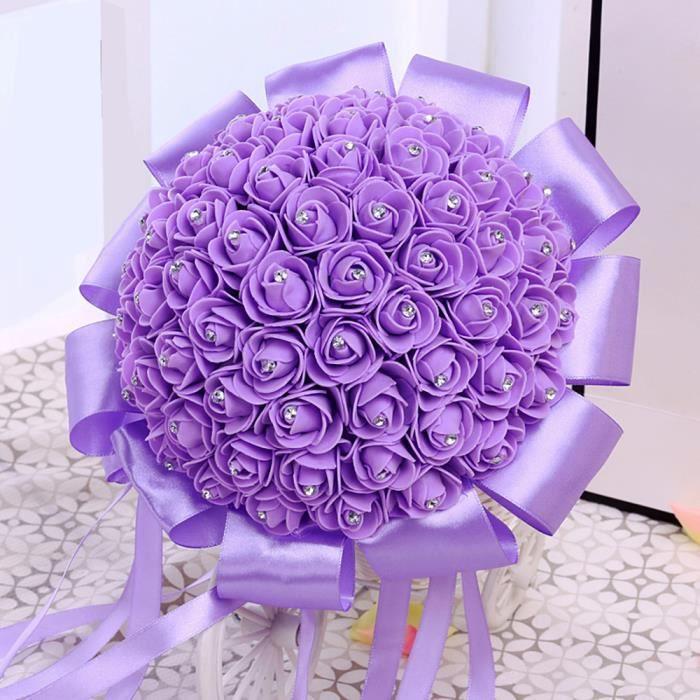 Lilas Violet Bouquet De Fleur Boule De Rose Artificiel Pour