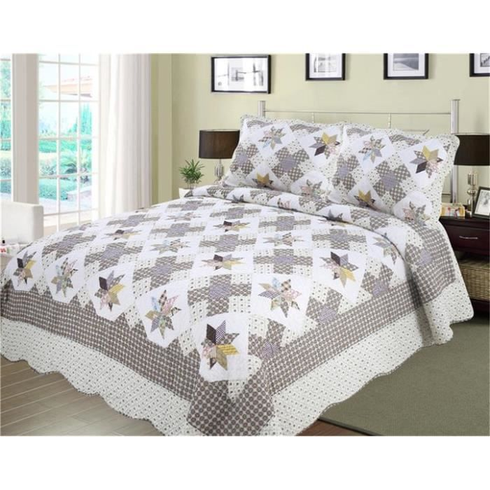 couvre lit boutis 100 coton 220x240 cm 2 taie d 39 oreiller matelass motif imprim achat. Black Bedroom Furniture Sets. Home Design Ideas