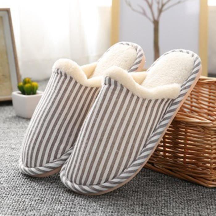 Cotton Pantoufle Chausson en Peluche Pantoufles d'intérieur Pour Coulpe Chaussure 38 Kaki nx3CGGE