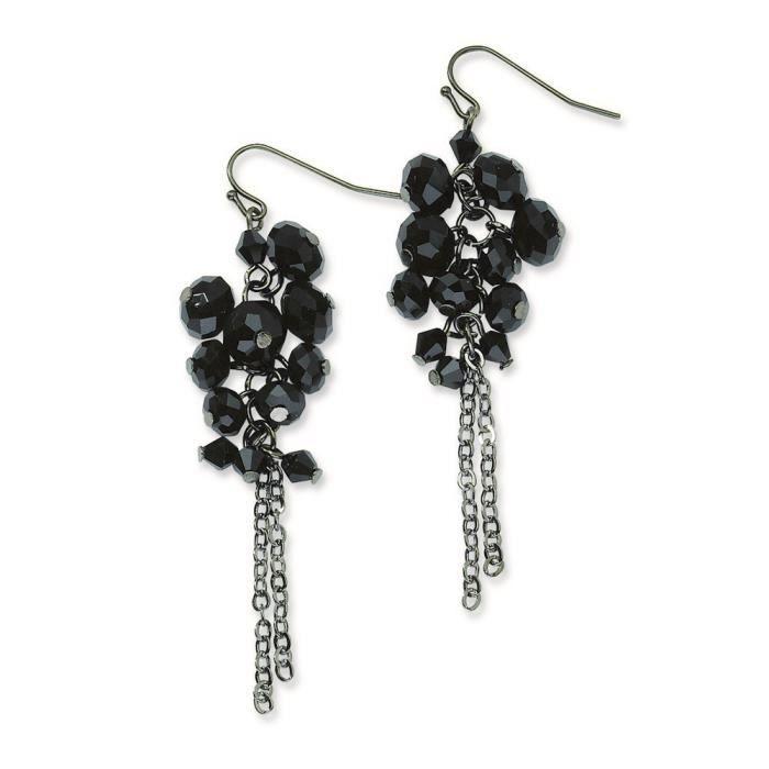Noir-grappe perles effet cristal Noir-Boucles doreilles pendantes