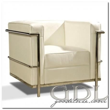Fauteuil carré design modern cuir blanc acier Achat Vente