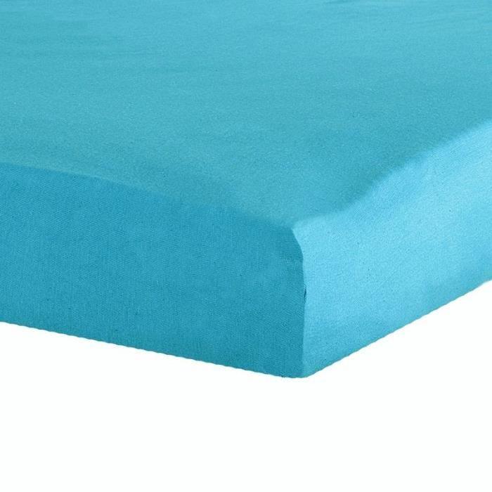 achat drap housse 180x200 Drap housse 180x200 cm 100% percale couleur BLEU TURQUOISE gamme  achat drap housse 180x200