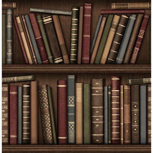 Papier Peint Motif Bibliotheque #4: Brewster FD40545 Papier Peint Motif Bibliothèque Marron