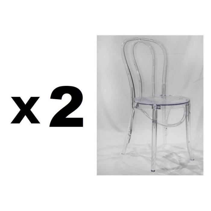 Lot De 4 Chaises Design Bistrot PARIS En Polycarbonate Transparent