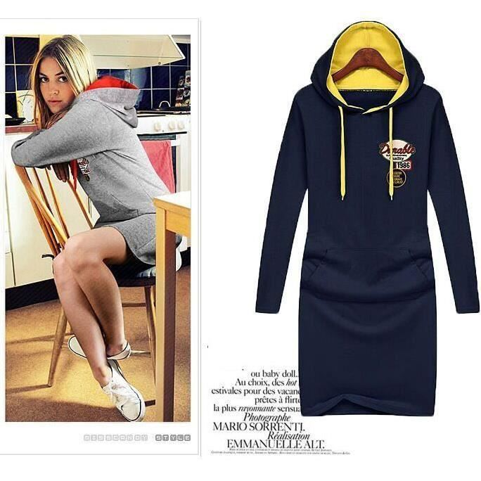 a9e39f6af7d Hoodie Femmes Pullover Robe Sweat Slim Casual C... Bleu marine ...