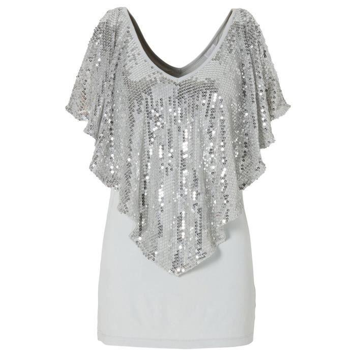 f6fc5689e84 Femme T-shirt Pailleté Moulante Blouse Rond Col Chemise Uni Gris ...