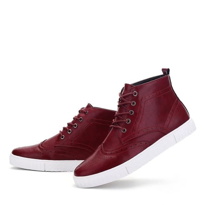Botte Homme Casual Mocassins stretch antidérapanterouge taille42