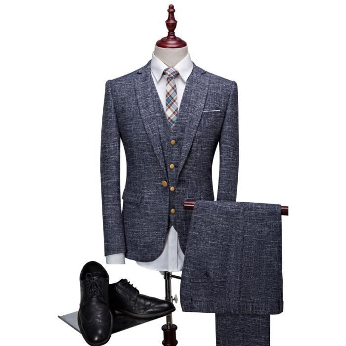 jtong costume 3 pi ces homme smoking rayures coupe cintr e slim style r tro vintage mariage. Black Bedroom Furniture Sets. Home Design Ideas