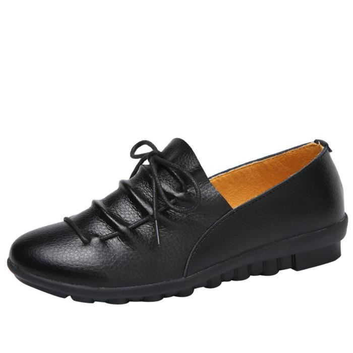 Couleur Cuir Bout Derbies Femmes Simples Chaussures Noir Loisirs Plat À En Rond Cheville Pure xqfwTFBYf