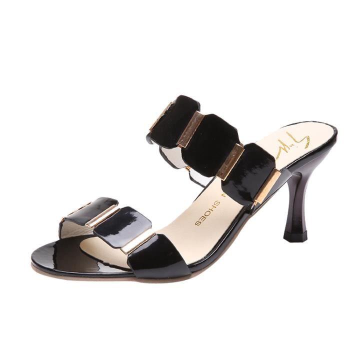 Shallow noir On Chaussures Simples Bas Boucle Slip Square Talons Toe Pilerty®femmes À a1fqwxw