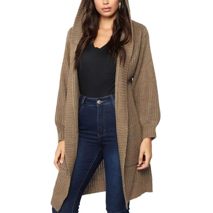 Womens Hooded Open Front Cable Knit Long Chunky Cardigan Sweater