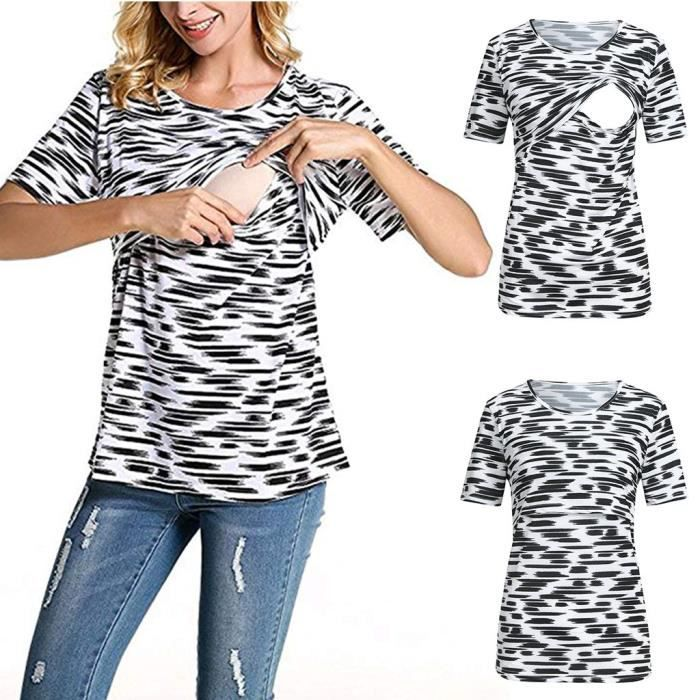 Noir Imprimer Maternité Zebra Femmes Courtes shirt Grossesse Bébé Infirmière De Manches T Hauts nPO80wXk