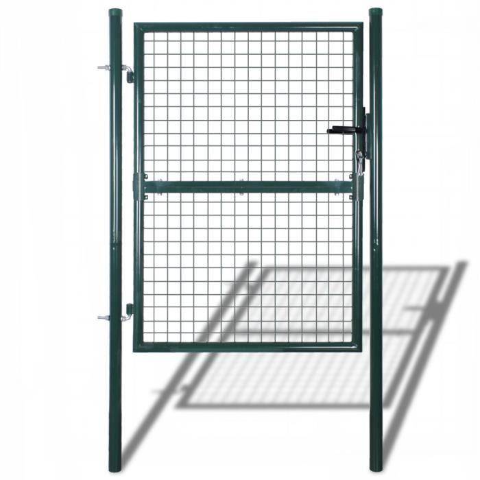 Porte Portail de Clôture en Grillage Galvanisée 85,5 x 125 cm / 100 ...