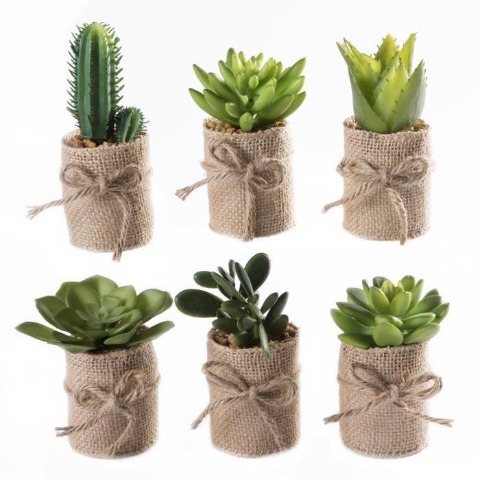 lot de 6 petites plantes grasses artificielles avec pot en. Black Bedroom Furniture Sets. Home Design Ideas