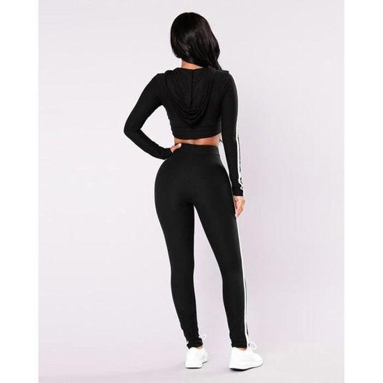 Minetom Femmes Jogging Yoga Survêtement Casual Manches Longues Crop Top  Sweat-Shirt à Capuche Et Pantalon Ensemble 2pcs Noir Noir - Achat   Vente  ... d3463848173