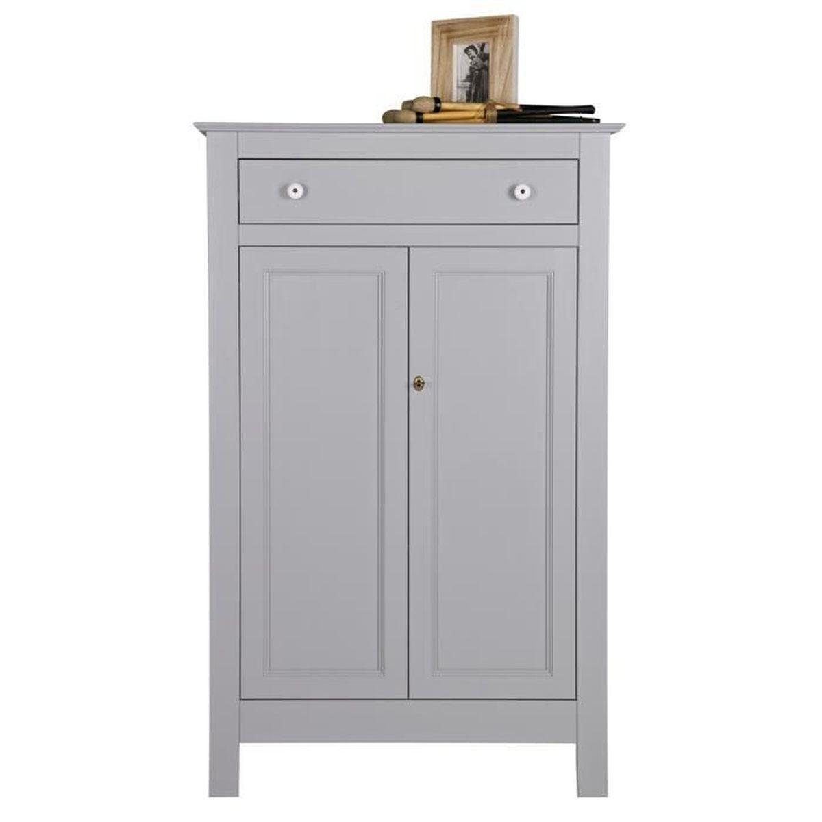armoire enfant avec 2 portes, en pin massif finition béton gris