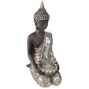 STATUE - STATUETTE Atmosphera - Photophore Bouddha à genoux  H 23 cm
