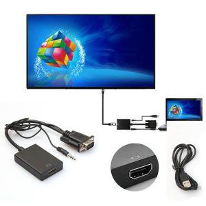 CÂBLE AUDIO VIDÉO VGA mâle vers HDMI sortie HD 1080p + Audio TV AV C