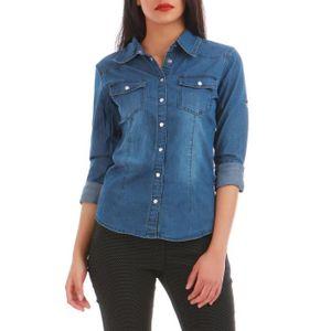 Chemise femme en jean - Achat   Vente pas cher - Soldes  dès le 9 ... 386cadf43b81