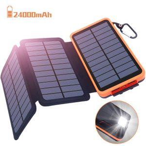 CHARGEUR - ADAPTATEUR  Chargeur Solaire 24000mAh, Batterie Externe Oxsayt
