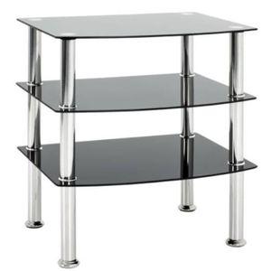TABLE D'APPOINT Table d'appoint en métal coloris inox-noir - Dim :