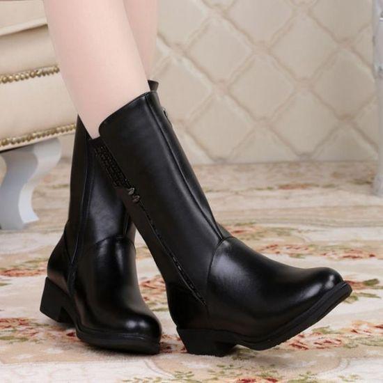 véritable Femmes cuir longues bottes au genou hiver en bottes JTFlcu5K13