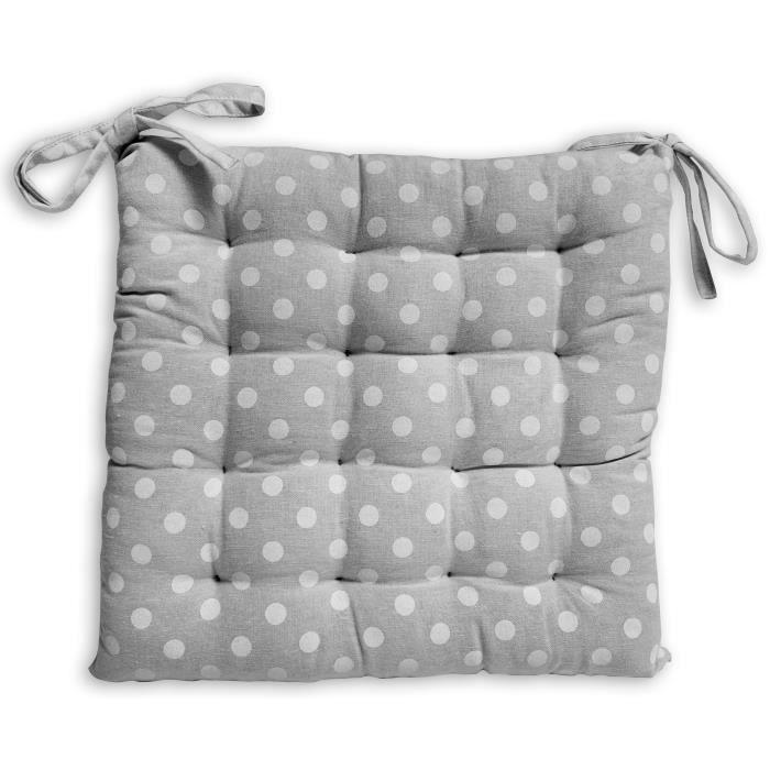 SOLEIL D'OCRE Galette de chaise capitonnée Passion en coton - Gris
