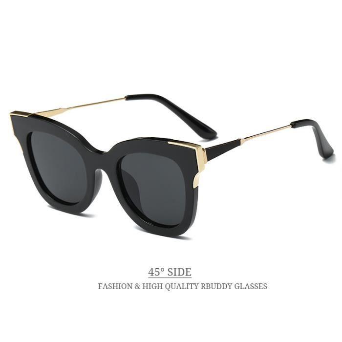 0d0565df30f873 RBUDDY 2017 lunettes de soleil oeil de chat femmes lunettes de soleil  lentille claire mode métal nuances de conception de la marque